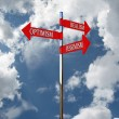 Pointer optimism, pessimism, realism against the sky — Stock Photo