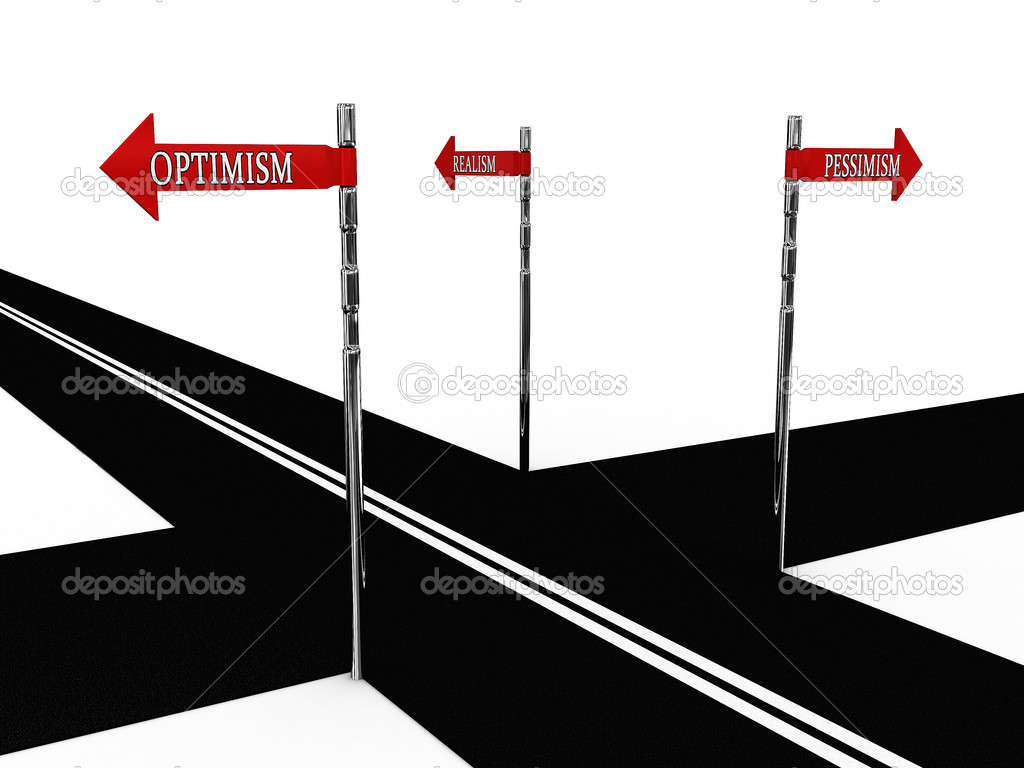 Pointer optimism, pessimism, realism on the road. 3D — Stock Photo #4253505
