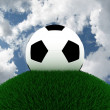 Football on grass against the sky. 3D — Stock Photo