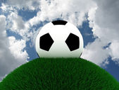 Football on grass against the sky. 3D — Стоковое фото