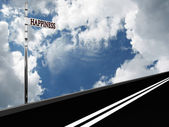 Pointer Happiness on the road against the sky — Stock Photo