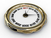 Clock with numbered years. 3D — Stock Photo