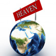 Road sign in the heaven and hell against the sky — Stock Photo