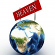 Road sign in the heaven and hell against the sky - Stock Photo