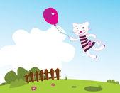 Lindo gatito volando en jardín de primavera — Vector de stock