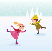 Winter: Ice skating little girl and boy — Stock Vector