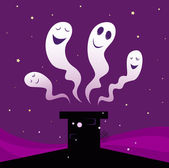 Vector Illustration of four Halloween ghosts — Stock Vector
