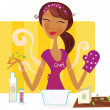 Woman is cooking meal in the kitchen — Stock Vector