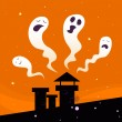 Halloween night: Spooky ghost characters — Stock Vector