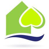 Yeşil doğa Eko ev simgesini — Stok Vektör
