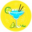 Blue Margarita: Retro cocktail icon on yellow background — Stock Vector