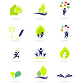 Nature, school and education icons — Stock Vector