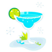 Blue Margarita cocktail isolated on white background — Stock Vector