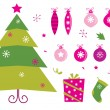 Stock Vector: Pink and green retro christmas icons and elements