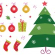 Retro christmas icons and elements set - red, yellow and green — 图库矢量图片