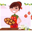 Stock Vector: Secret recipe: Woman preparing christmas cookies
