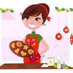 Secret recipe: Woman preparing christmas cookies — Stock Vector