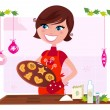 Royalty-Free Stock Vector Image: Cooking mother preparing christmas cookies in kitchen