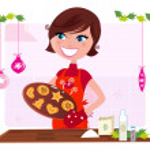Cooking mother preparing christmas cookies in kitchen — Stock Vector