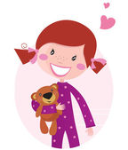 Happy little girl hugging teddy bear isolated on pink background — Stock Vector