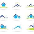 Real estate / houses logo icons isolated on white - blue and green — Stock Vector