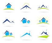 Bens imóveis / moradias ícones logotipo, isolado, branca - azul e verde — Vetorial Stock
