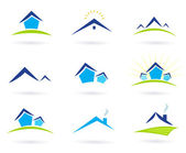 Real estate / houses logo icons isolated on white - blue and green — Vector de stock