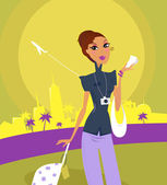Girl at the airport preparing on travel — Stock Vector