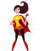 Brown hair Super woman in red costume (superhero) — Vettoriale Stock