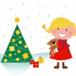 Cute girl with christmas tree and gifts — Stock Vector