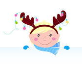 Cute funny Child in reindeer costume with blank banner / sign — Stock Vector