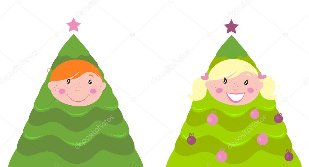 Cute boy and girl in christmas tree costumes isolated on white background. Vector cartoon illustration. — Stock Vector #4273410