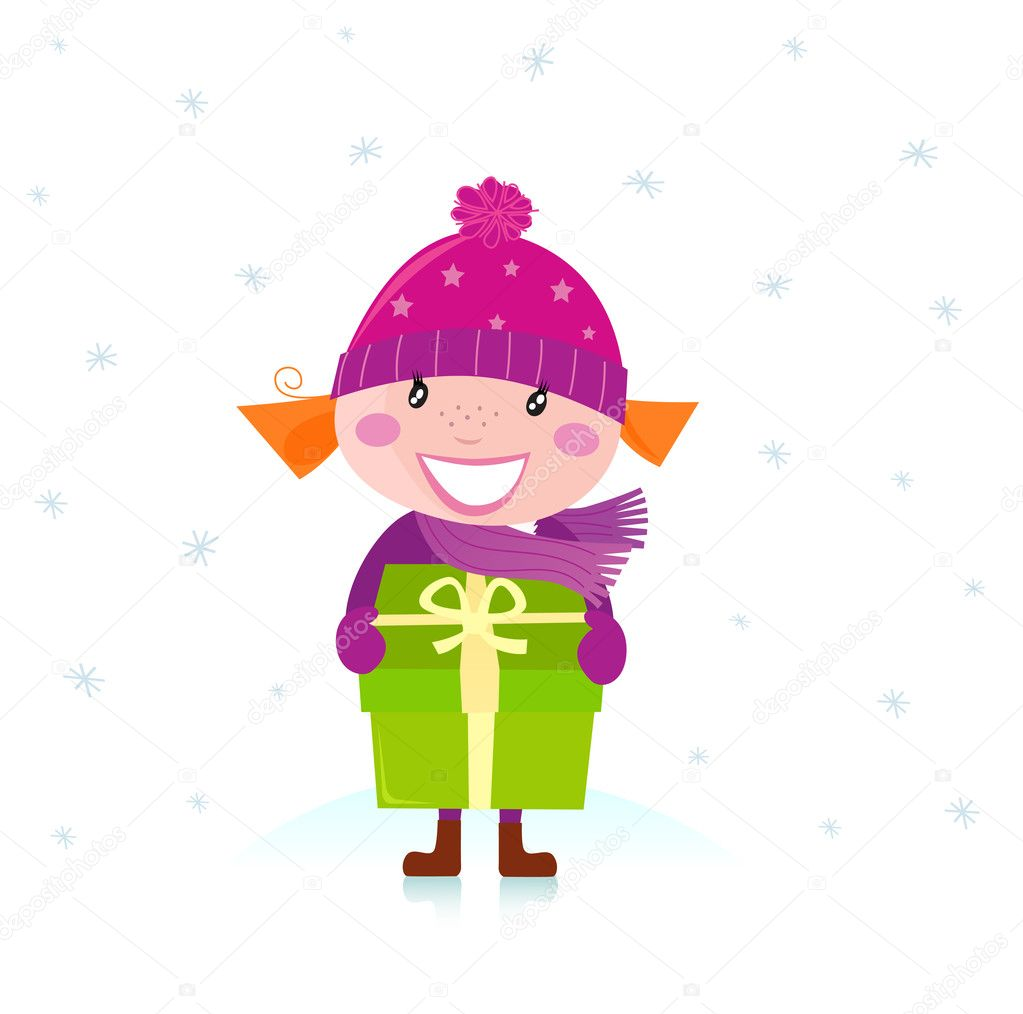 Little girl in pink costume with a gift isolated on white background. Vector Illustration. — Stock Vector #4274215