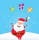 Happy Santa Claus juggling christmas presents — Stock Vector