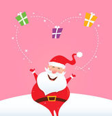 サンタはクリスマスのギフトとジャグリングと大きな心を作る — ストックベクタ
