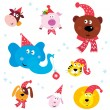 Christmas Party Animals with Santa hats - Stock Vector