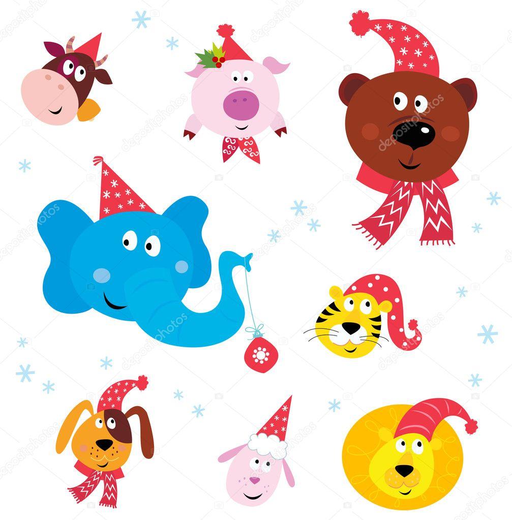 可爱动物图标与红色圣诞老人的帽子上白色隔离