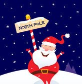 Happy Christmas Santa with North pole sign — Stock Vector