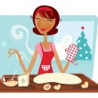 Stock Vector: Christmas woman baking cookies in retro kitchen