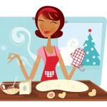 Christmas woman baking cookies in retro kitchen — Stock Vector