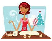 Christmas woman baking cookies in retro kitchen — Vector de stock