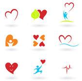 Kardiyoloji, kalp ve simgeler koleksiyonu — Stok Vektör