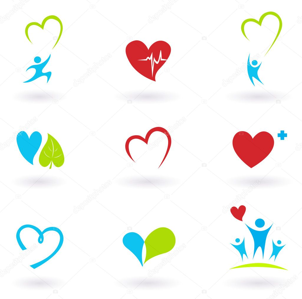 Collection of medical icons and symbols isolated on white.  Stock Vector #4425985