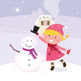 Cute winter girl in christmas pink costume making snowman — Stock Vector