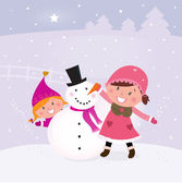 Winter and christmas: Two happy children making snowman — Stock Vector