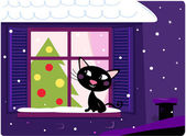 Cat looking through window, christmas tree and xmas snowy night — Stock Vector