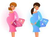 Pregnant women awaiting baby boy and baby girl — Stock Vector
