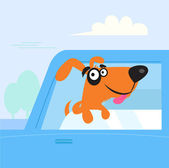 Happy brown and black dog travelling in blue car — Stock Vector