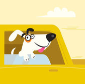 Happy black and white dog travelling in yellow car — Stock Vector