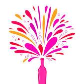 Let's Celebrate! Champagne bottle splash explosion isolated on white — Stock Vector